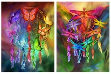 5D DIY Diamond Embroidery Butterfly Feather Dream Catcher Full Square Cross Stitch  Painting Mosaic Decor Home