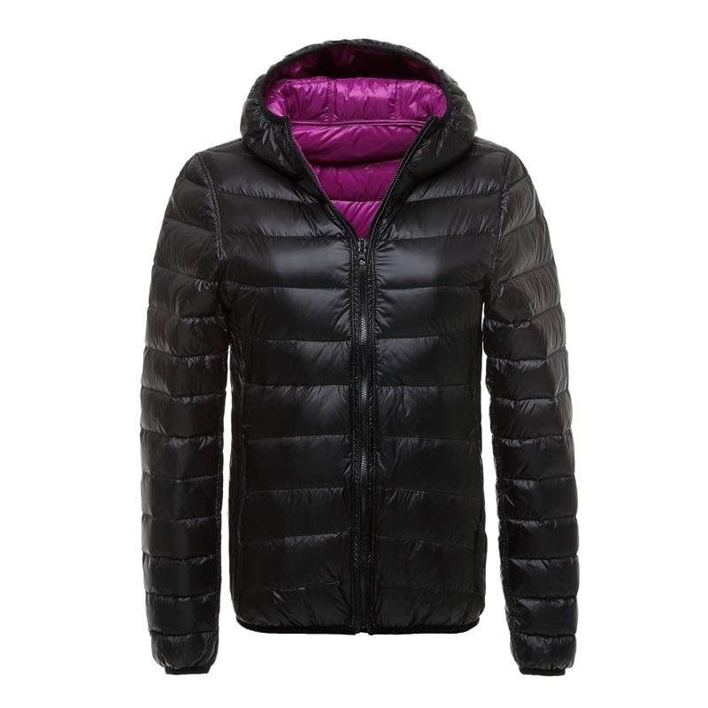 Winter Duck Down Jacket Women Hooded Ultra Light Down Jackets Reversible Double Side Wear Women Jacket Portable Winter Coat