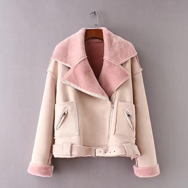 Кожаные Замшевые Куртки из овечьей шерсти, пальто, женская куртка из искусственной замши, пояс с отложным воротником, Повседневная Верхняя ...