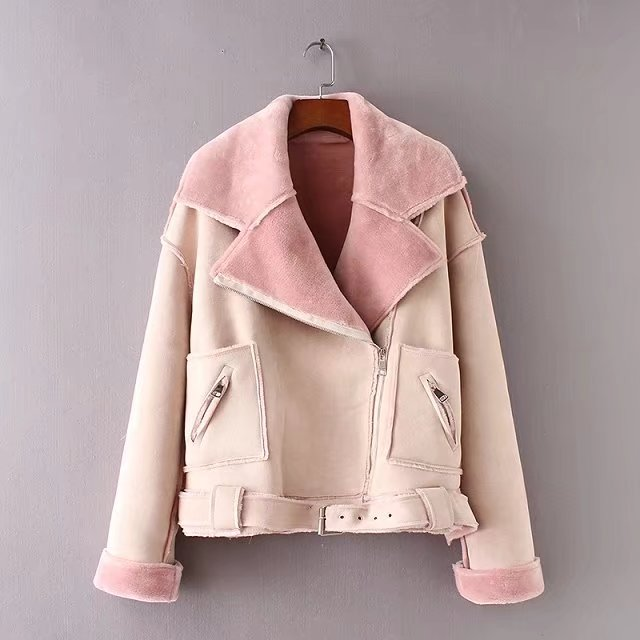 Leather     suede   lambs Wool Jackets Coat Women Faux   suede   Jacket Belt Turn-down High Street Casual Zipper Thick Outwear 17NovW4