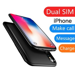 For iPhone 6 6s 7 8 plus X XS Ultrathin Rubber Dual SIM Dual Standby Bluetooth Adapter Standby 7 days 3150 mAh Power Bank Case
