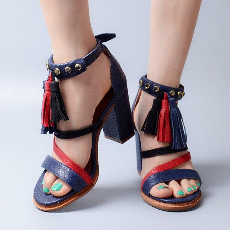 Ayakk.'ten Yüksek Topuklular'de Prova Perfetto Yaz Karışık Renk Dar Bant Ayak Bileği Toka Askı Yüksek Topuk Kadın Sandalet Peep Toe Saçak Tıknaz Topuk Ayakkabı'da  Grup 2