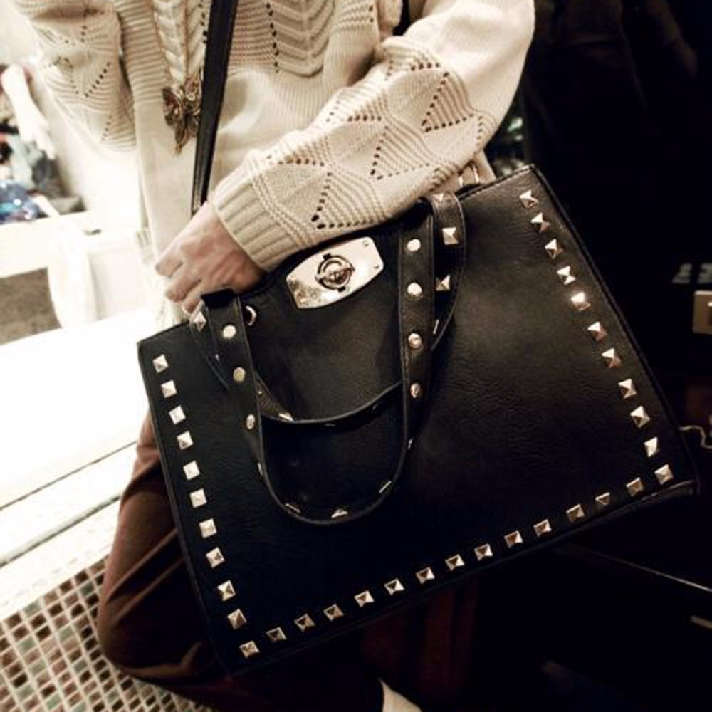 SFG HOUSE Women Fashion Shoulder Bags 2017 Ladies Black Handbags PU Leather Rivet Crossbody Bag Vintage Messenger Bag Tote Bag серьги fashion house даниэлла цвет серебряный белый