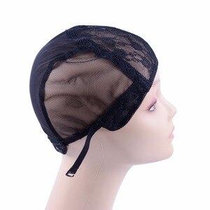 Image 4 - 10 pçs/lote laço suíço duplo laço peruca caps para fazer perucas de tecelagem cabelo ajustável peruca tampão cúpula preta para peruca redes de cabelo