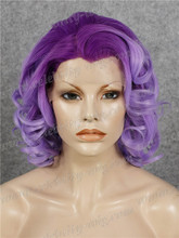 New Arrival Short Bob Curly Synthetic Lace Front Wig Drag Queen Wig Purple Ombre Wig