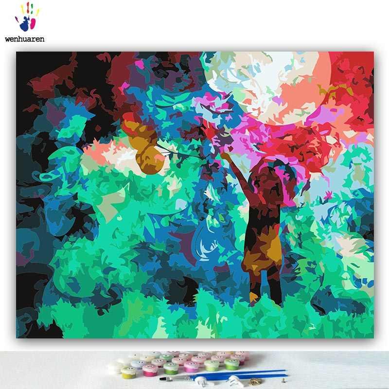 DIY 着色料による写真番号色抽象ガールホワイト馬キッズプラスチックピクチャー描画数字額