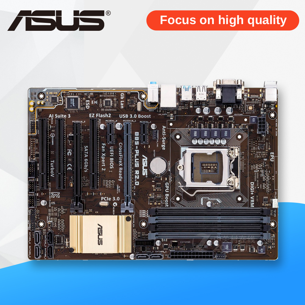 Asus B85-PLUS R2.0 Desktop Motherboard B85 Socket LGA 1150 i7 i5 i3 DDR3 32G SATA3 USB3.0 ATX used for asus b85 plus desktop motherboard b85 socket lga 1150 i7 i5 i3 ddr3 32g sata3 usb3 0 atx