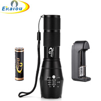 CREE XML T6 3800Lumens High Power LED Torches Zoomable Tactical LED Flashlights Torch Battery Charger Kit
