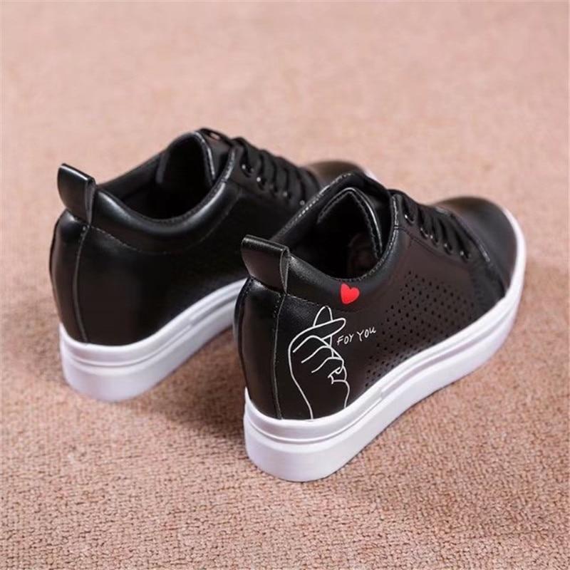 Lace Phy2227 Casual up Hohl Turnschuhe Drucken Schuhe Atmungsaktive Schwarzes Hohe Plattform Frauen Vogue weiß Weiß qC7dq