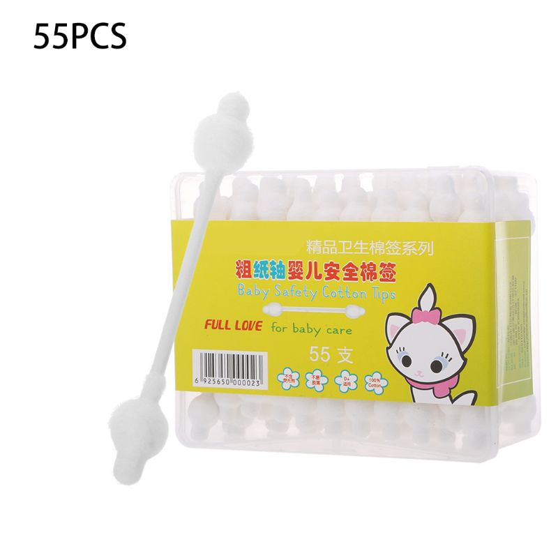 Constructive 55pcs Baby Cotton Swabs Paper Handle Double Head Swab Ear Cleaning Health Tipped Applicator Stick Multi-functional 'zt