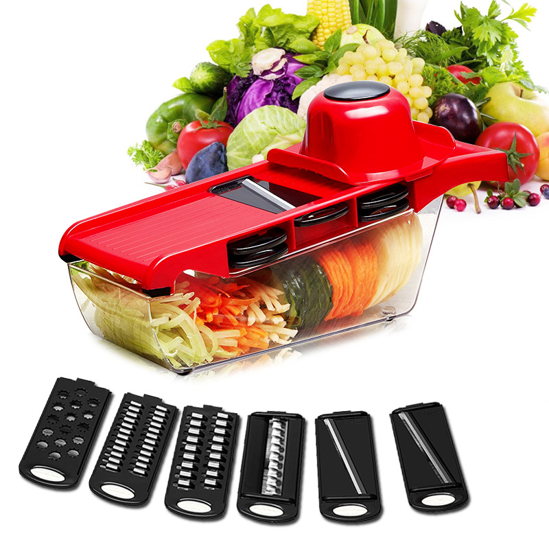 Slicer 6 Piece Blades Mandoline Slicer 1 Julienne Peeler Vegetable Slicer Cutter Fruit Vegetable Tool Kitchen Accessories