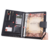 Multifunction High Quality Leather A4 Folder For Documents With Ring Binder Calculator Padfolio With Notepad
