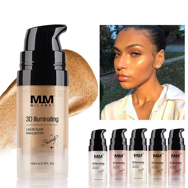 12ml Makeup Highlighter Contouring Makeup Face Brightener Concealer Liquid Highlighter Primer Bronzer Face Glow Cosmetics