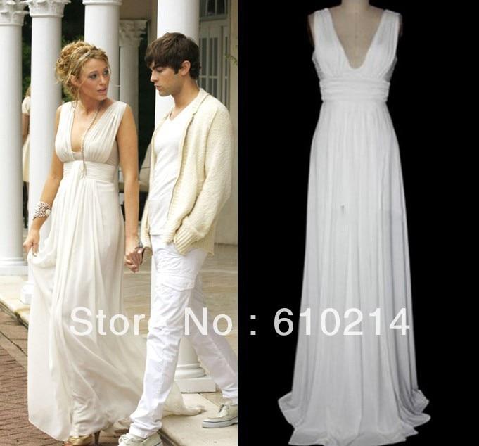Custom Made Wedding Dress Greek Inspired: Greek Goddess Blake Lively Floor Length Party Occasion