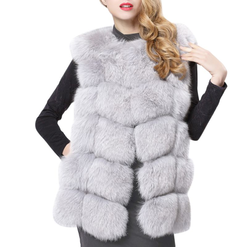 Women Faux Fur Coat Plus Size Sleeveless Vest Shaggy Fluffy Jackets Black Red Grey Green Pink Blue Fur Vests Cardigan Femme H9