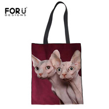 Forudesigns Linen Women Totes Handbags Cute Canadian Hairless Cats S Crossbody Bags Fashion Recycle Ping
