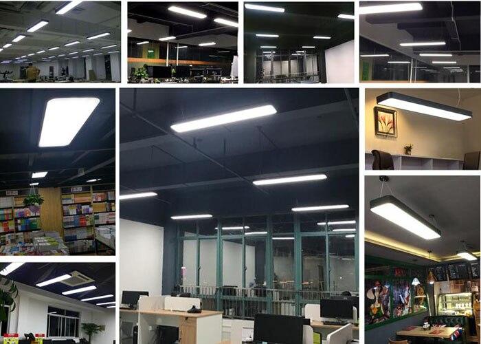 Luminaires suspendus modernes en aluminium de puce LED accrochant l'appareil d'éclairage de bande de fil pour la lampe d'étude de salle de conférence de bureau argent/noir - 2