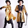 New Brand Mens Singer Star Show Trench Coats Nightclub Gold Bling Sequins Long Costume Jackets Shiny Sequins Long Coats Size XL