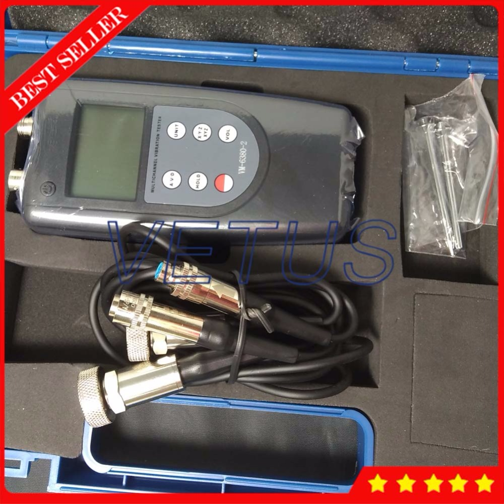 VM6380-2 Double Channel Digital Meter Portable Vibrometer Vibration Analyzer Tester with 2 Piezoelectric Transducers Sensor цена