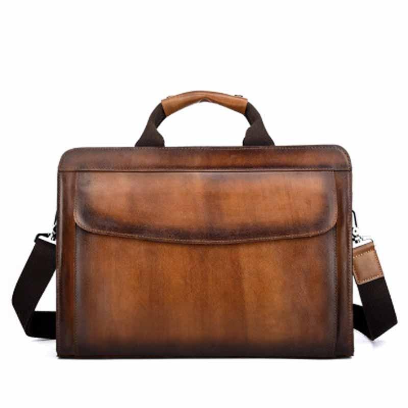 YISHEN Vintage Genuine Leather Men Briefcase Handbags Casual Male Shoulder Crossbody Bags Business Travel Messenger Bag