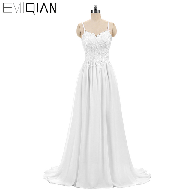 Ready for Shipping New A Line Long Wedding Dress Cheap Bride Marry Dress White Chiffon Embroidery Bridal Gown