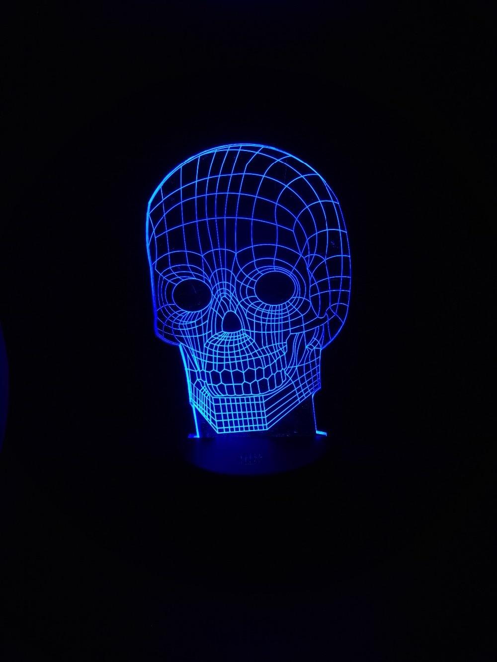 الجملة 3d الجمجمة أضواء الليل جو بقيادة مصباح اللمس الاستشعار هالوين موضوع حزب بارد رجل غرفة المعيشة طاولة مكتب ديكور