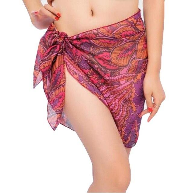الصيف النساء ملابس السباحة تنورة الشاطئ طباعة الشيفون التستر بيكيني التفاف سارنغ للشاطئ ل السباحة ثوب السباحة ملابس السباحة