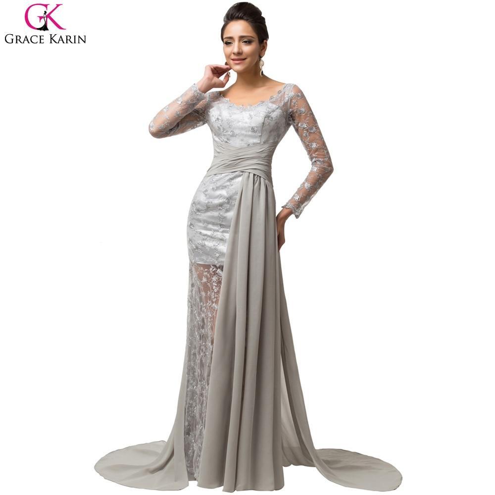 Long Sleeve Evening Dresses Grace Karin Chiffon Transparent Lace ...