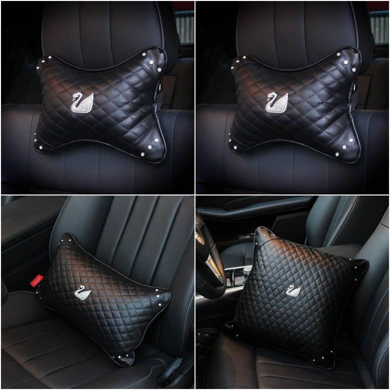 Swan Series Car Interior Decoration Accessories Neck Pillow Waist Support Car Steering Wheel Cover Shifter Hand Brake Cover Sets