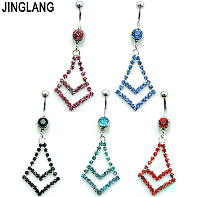 Us 7 6 Fashion Korean Belly Button Rings Surgical Steel Dangle Rhinestone Triangle Navel Body Piercing Jewelry In Body Jewelry From Jewelry