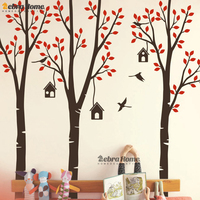 Pastoral Style Tree Birds And Birdcage Vinyl Wall Stickers Removable Home Decor For Living Room Baby