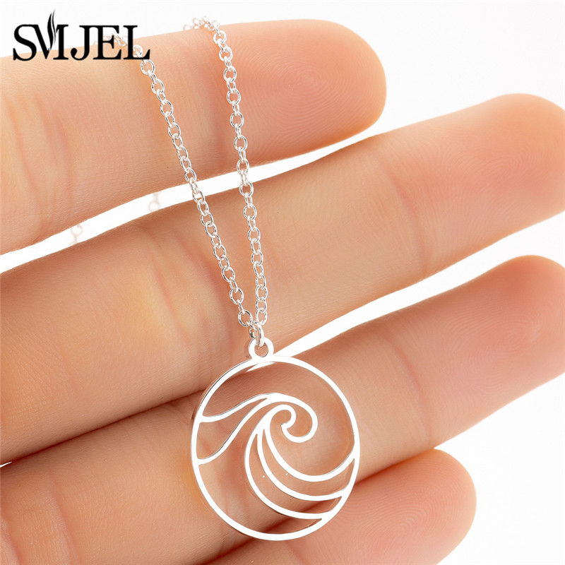 SMJEL Stainless Steel Wave Necklaces Pendants Circle Beach Surfer Jewelry For Women Ocean Wave Charm Choker Necklace Collar