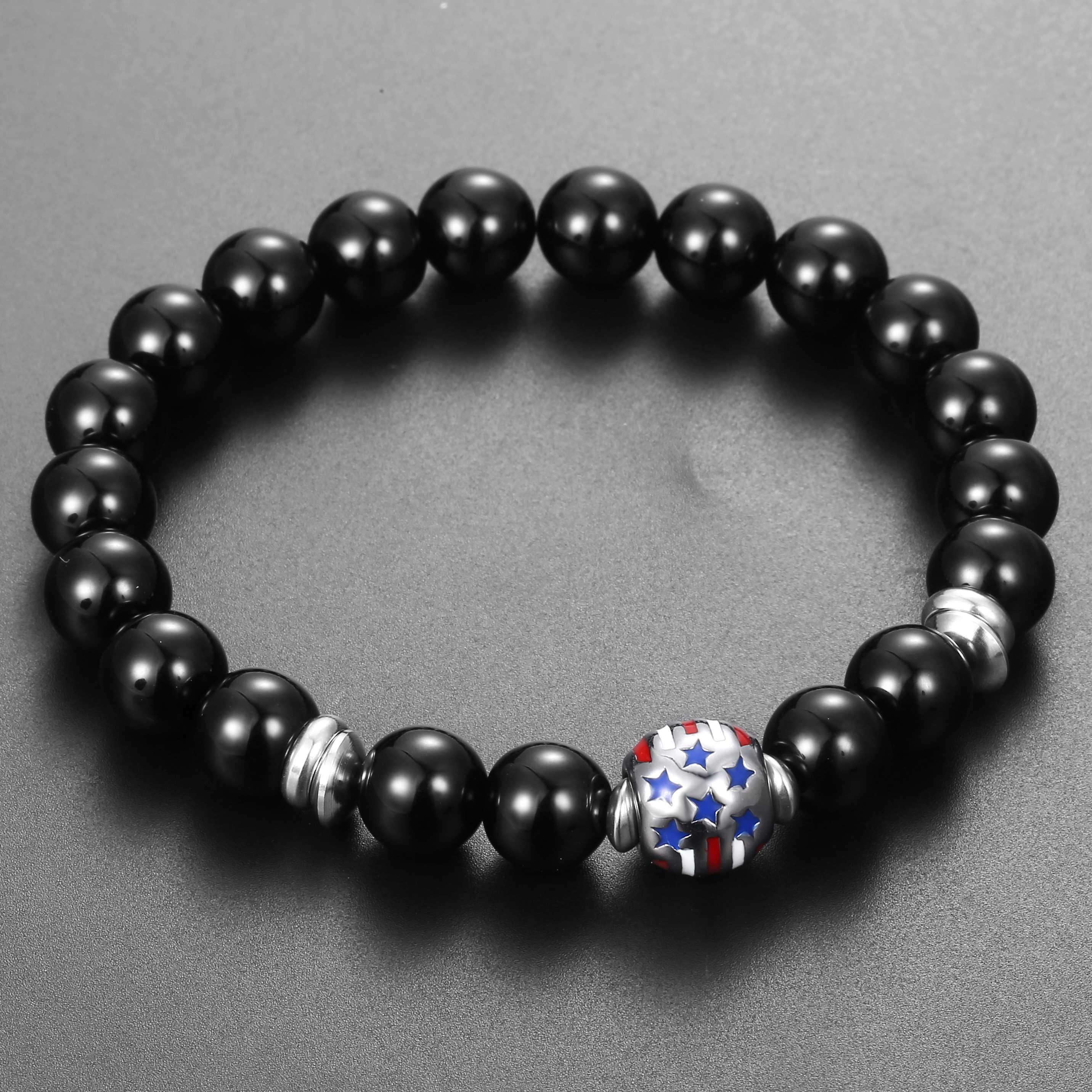 Black Glass Bead Bracelet Mens Womens Stainless Steel Love USA American Flag Heart Couple Charm Bracelet Stretch 8mm 10mm DBM56
