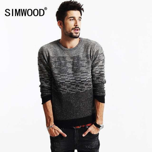 SIMWOOD 2018 Nouveau chandail d\u0027hiver hommes 66% laine de mode pulls slim  fit