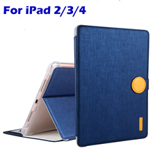For Apple iPad 2/3/4 case Cover Fashion Business High Quality TPU+PU Leather Protective Skin Tablet Accessories Cover+Gifts