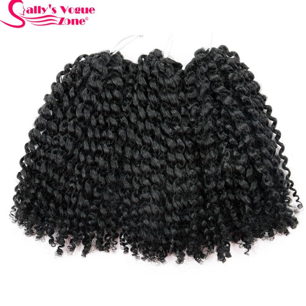 Sallyhair Synthetic Ombre Color 3pcs/set 8Inch Crochet Braids Hair Marly Braids Crochet  ...