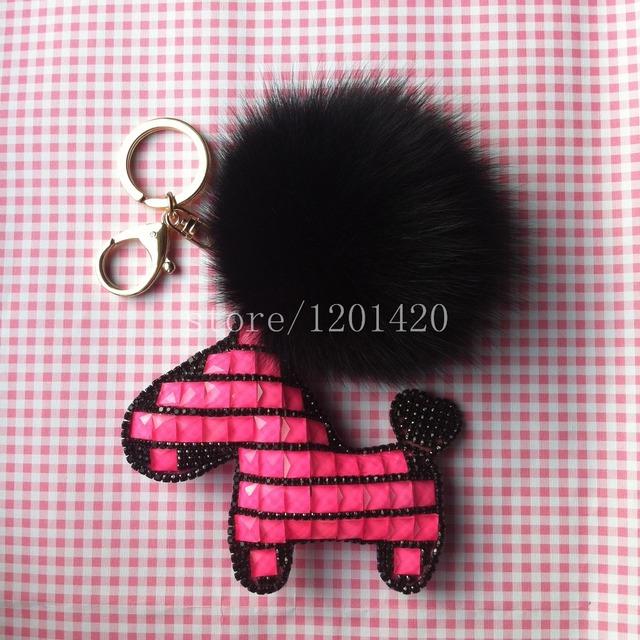 Llavero caballo con zorro pompón de piel mujeres creadoras del encanto del bolso colgante de mujer accesorios, cristal de moda charms wallet