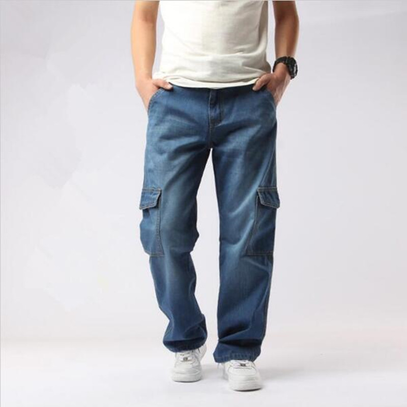 Plus Size Mens Baggy Jeans Light Blue Multi Pockets Cargo Jeans Loose Skateboard Denim Pants for Male  mens casual blue jeans denim multi pocket loose outdoor straight legs cargo pants