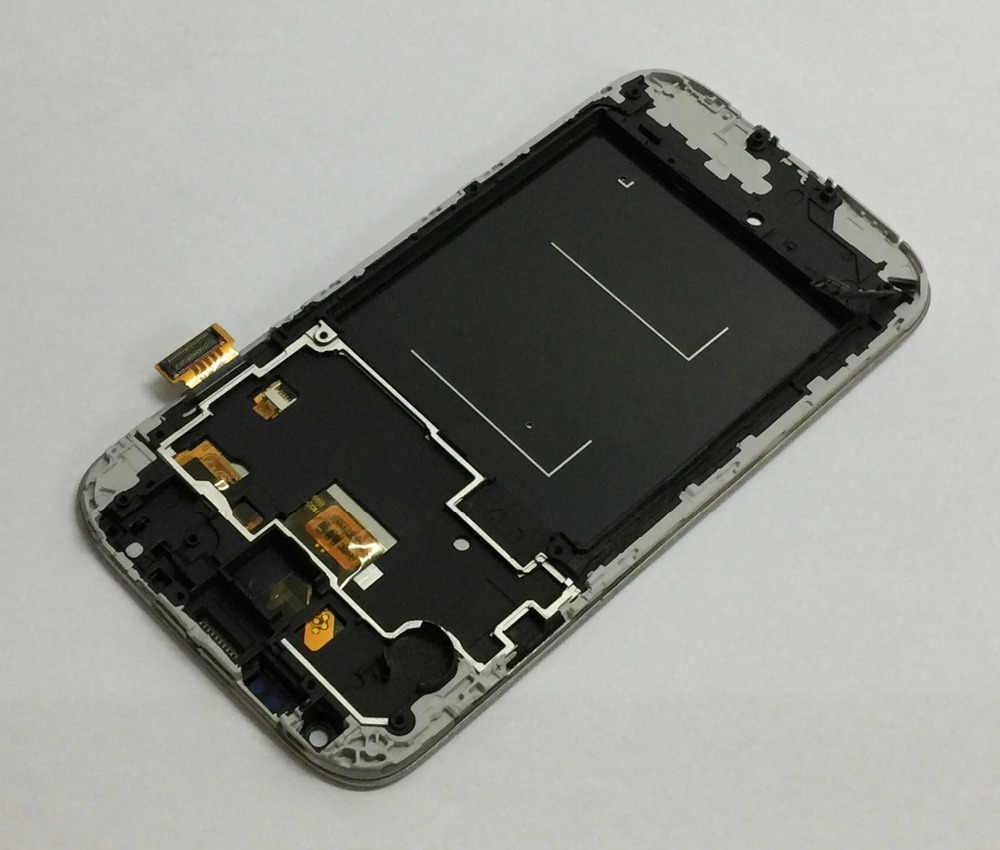 لسامسونج غالاكسي S4 gt-i9500 i9505 i337 محول الأرقام بشاشة تعمل بلمس الزجاج الاستشعار شاشة الكريستال السائل لوحة رصد الجمعية مع الإطار