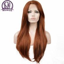 MSIWIGS pomarańczowy syntetyczna koronka przodu peruki dla kobiet Afro peruka z długich prostych włosów z grzywką żaroodporne włosy