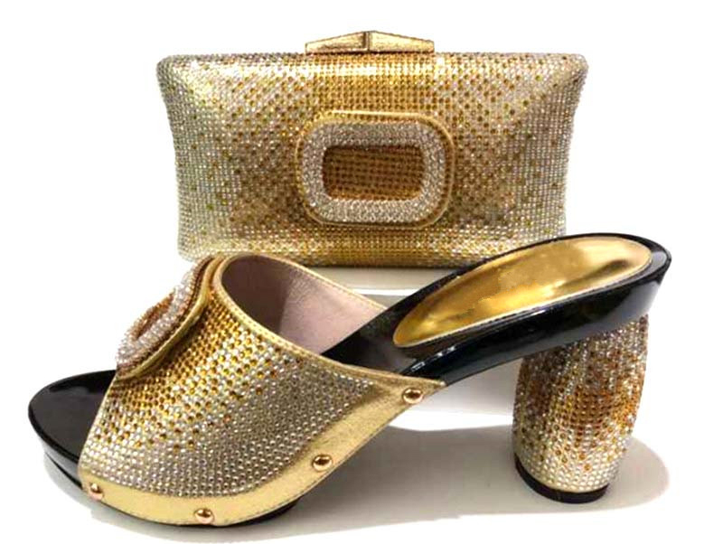 c8509847003b 2018 shoes and bag in italy design gold fashion lady shoes and bag to match  women