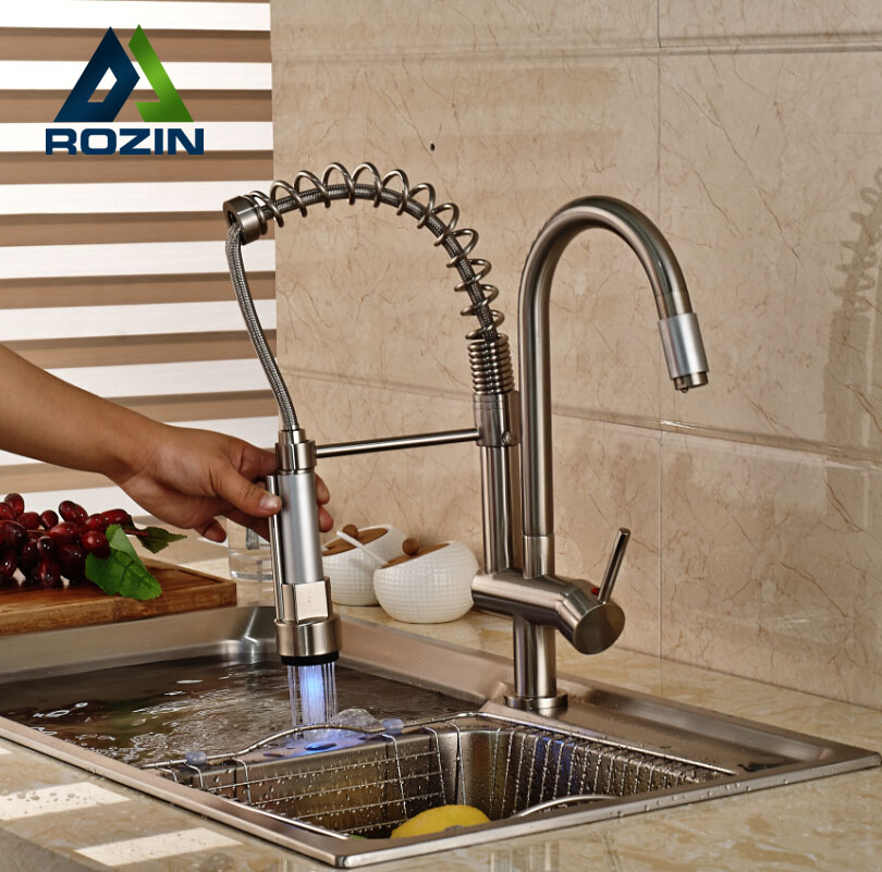 Luxury LED Light Pull Down Spray Double Spouts Kitchen Sink Faucet Brushed Nickel Finish
