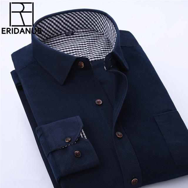 cdb9a87bf 2016 Spring Men Casual Shirts Man Corduroy Long Sleeve Solid Color Fashion  Stitching Plaid Lining Slim