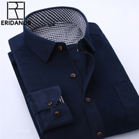 2016 Spring Men Casual Shirts Man Corduroy Long Sleeve Solid Color Fashion Stitching Plaid Lining Slim