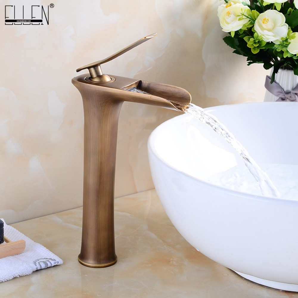Waterfall Tall Bathroom Sink Faucet Solid Copper Hot and Cold Water Mixer Antique Bronze Black Basin