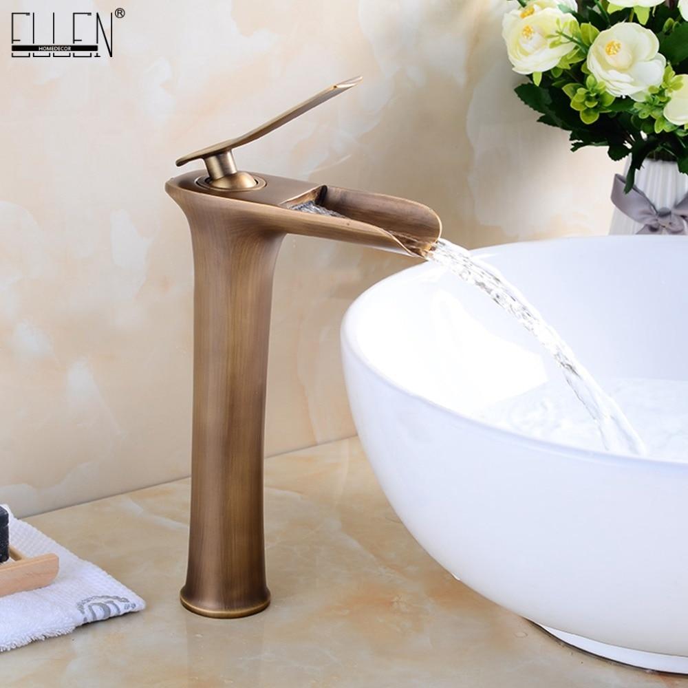 Tall łazienka kran zlew wodospad stałe miedzi ciepłej i zimnej wody mikser antyczny brąz czarny bateria umywalkowa kran ELF8900 w Baterie umywalkowe od Majsterkowanie na AliExpress - 11.11_Double 11Singles' Day 1