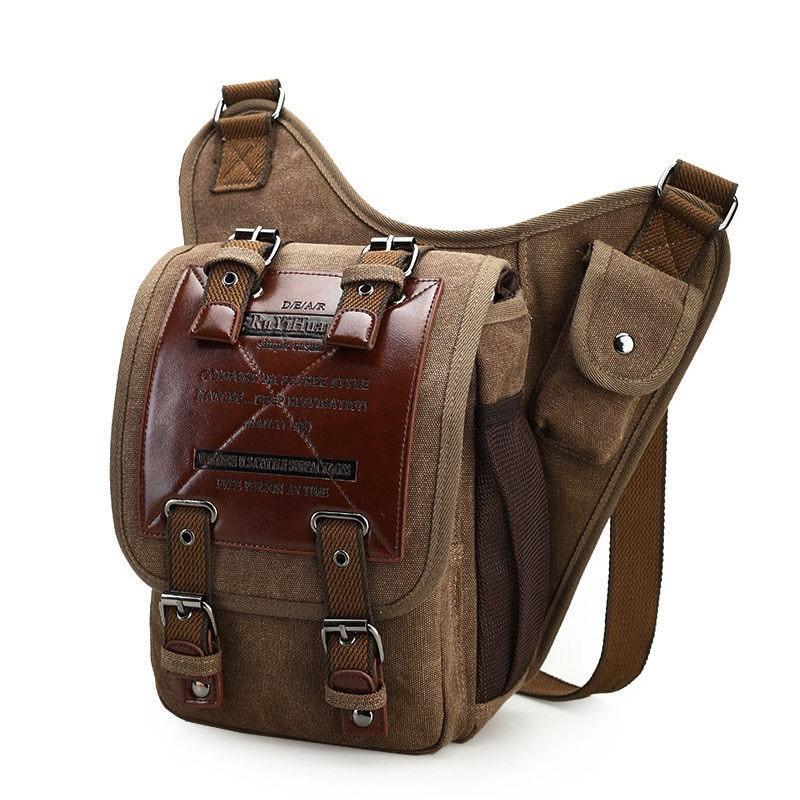 Brand Retro Men Bag Leather Canvas Military Vintage Messenger Bags Men's Shoulder Bags Crossbody Travel Pocuh Man Bolsa XA278WA