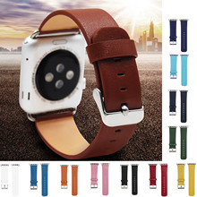 CRESTED Genuine Leather Wrist Watch Band Strap for Apple band 42mm 38mm with adapter
