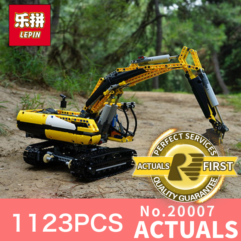 1123Pcs Lepin 20007 Technic series excavator Model Building blocks Bricks Compatible Toy Christmas Gift 8043 Educational Car new lepin 21003 series city car beetle model educational building blocks compatible 10252 blue technic children toy gift