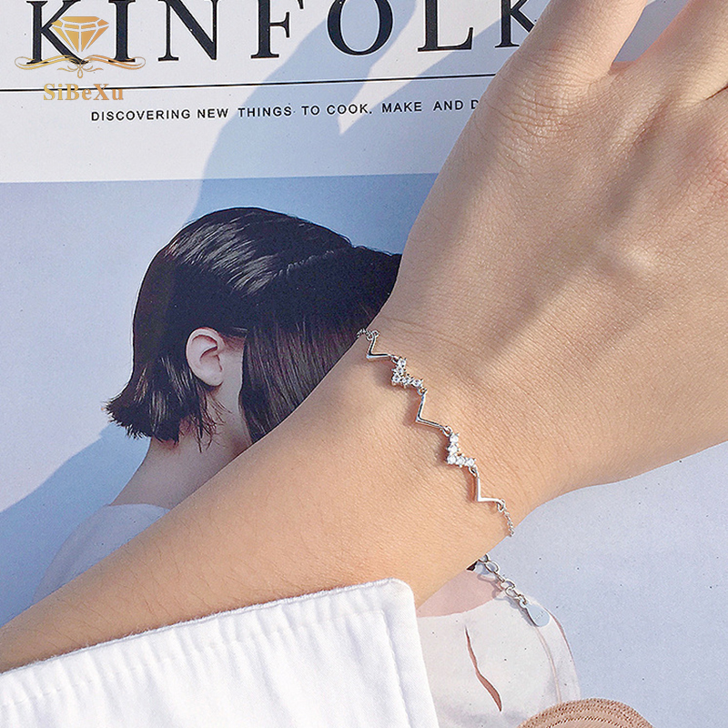 Fashion 925 Sterling Silver Bracelet Women Crystal Element Charming Heart Wave Bangles Zircon Jewelry Gift